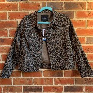 NWT Nine West Sarah Denim animal print jacket SZ L